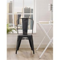 Walker Edison CH33MCBL 17 x 33 in. Metal Cafe Chair - Antique Black