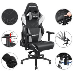 Anda Seat Racing Chair Gaming Adjustable Tilt Swivel PVC Leather High-back 400lbs w/ Headrest & Lumbar Cushion
