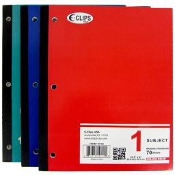 1 Subject Wide Ruled Wireless Notebook - 70 Sheets Case Pack 48