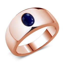 Gem Stone King 1.79 Ct Oval Blue SI1/SI2 Sapphire 925 Rose Gold Plated Silver Men's Ring