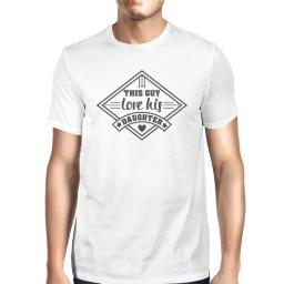 This Guy Love His Daughter Mens White Vintage Design Graphic Shirt