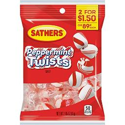 Sathers Peppermint Twists Candy, 2.85 Ounce - 12 per case.
