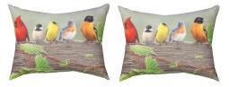Birds On A Line Blue Pair of 24 X 18 Inch Decorative Pillows