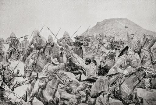 Charge Of The 5Th Lancers At The Battle Of Elandslaagte, 21 October 1899, During The Second Boer War. From The Book South Africa And The Transvaal.