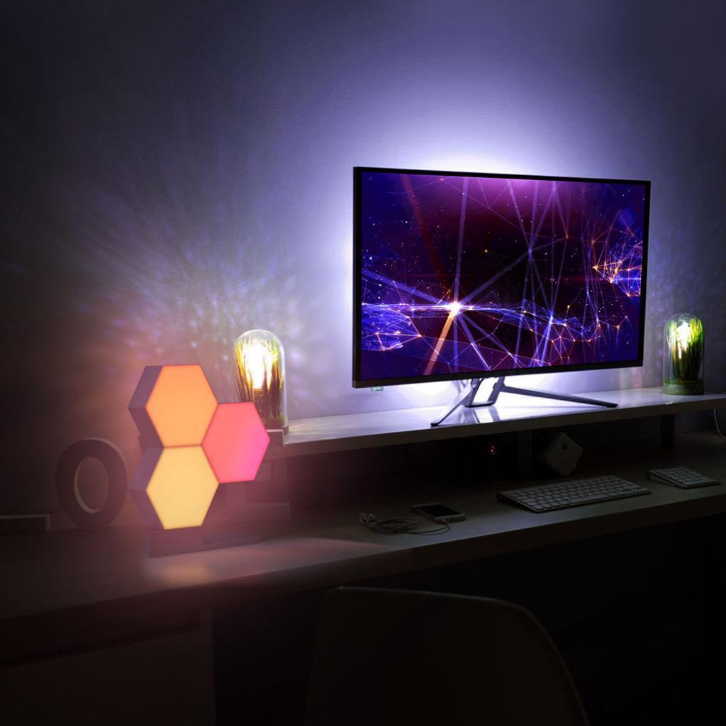 LifeSmart WiFi Smart LED Light Kit Splicing 3 Blocks & Base 16 Million Color Cololight Work with Alexa Google Assistant
