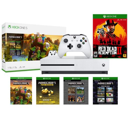 Microsoft Xbox One S 1TB Minecraft Creators Bundle and Red Dead Redemption  2 Game
