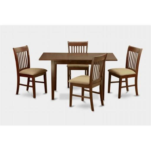 East West Furniture NOFK5-MAH-C 5 Piece Kitchen Nook Dining Set- Table With 12 In. Leaf and 4 Dining Chairs