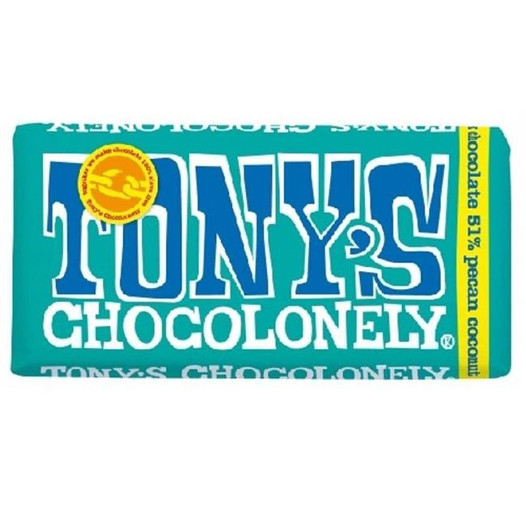Tonys Chocolonely BWA47888 15 x 6 oz Dark Chocolate Pecan Coconut