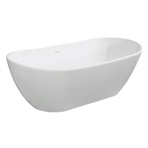 72 in. Aqua Eden Solid Surface Resin Free Standing Tub with Drain Kit, White