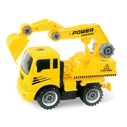 AZImport T29A Take A-Part Construction Truck with 4 Different Forms, Dump Truck, Crane, Cement Mixer, Excavator