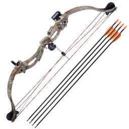 34″ Junior Compound Bow Kit w/ 4pcs 28″ Arrow Set Youth Archery Draw Weight 20lbs Hobby Right Hand