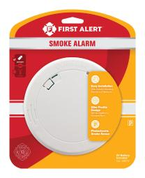First Alert Battery-Powered Photoelectric Smoke/Fire Detector - Case Of: 1;