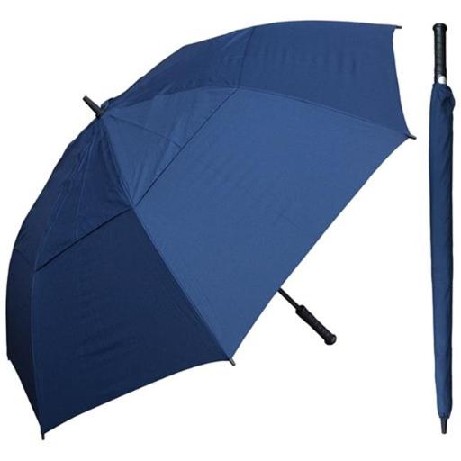 RainStoppers W030N 60 in. Auto Open Navy Wind Buster Golf Umbrella with Golf Grip Handle, 6 Piece