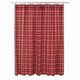 VHC Brands 29199 72 x 72 in. Braxton Scalloped Shower Curtain - Apple Red, Natural & Ebony 29199