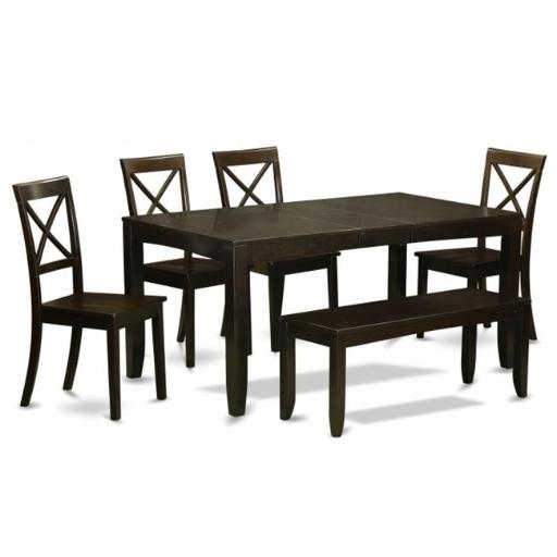 East West Furniture LYBO6-CAP-W 6 Piece Dining Room Table With Bench-Dining Table and 4 Kitchen Dining Chairs Plus Bench
