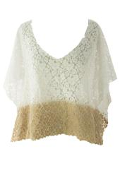 VELVET by Graham & Spencer Women's Ombre Poncho Style Lace Top Small White