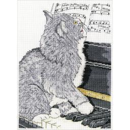 """Piano Cat Counted Cross Stitch Kit-10""""X14"""" 14 Count DW2910"""