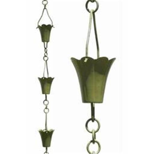 Patina Products R252H Verdigris Fluted Cup Rain Chain - Half Length