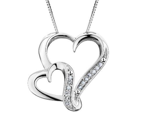 Diamond Heart Pendant Necklace 1/12 ctw in Sterling Silver with Chain