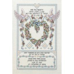 "Platinum Collection  Wedding Doves Counted Cross Stitch Kit-12""X17"" 14 Count 80-0438"