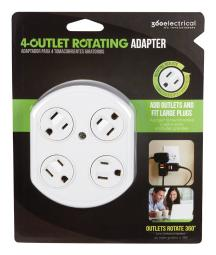 360 Electrical Grounded 4 outlets Outlet Tap Surge Protection 1 pk - Case Of: 1; Each Pack Qty: 1;
