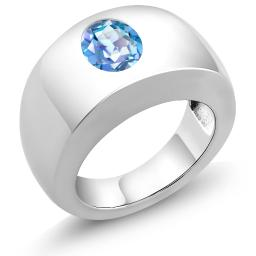 Gem Stone King 1.80 Ct Millennium Blue VS Mystic Quartz 925 Sterling Silver Men's Solitaire Ring