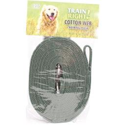 COASTAL PET PRODUCTS TRAIN RIGHT! COTTON WEB DOG TRAINING LEASH 20 FT GREEN