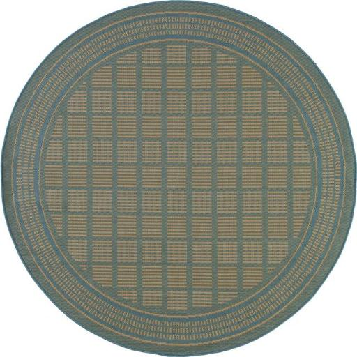 Art Carpet 29380 8 ft. Plymouth Collection Basket Flat Woven Indoor & Outdoor Round Area Rug, Blue