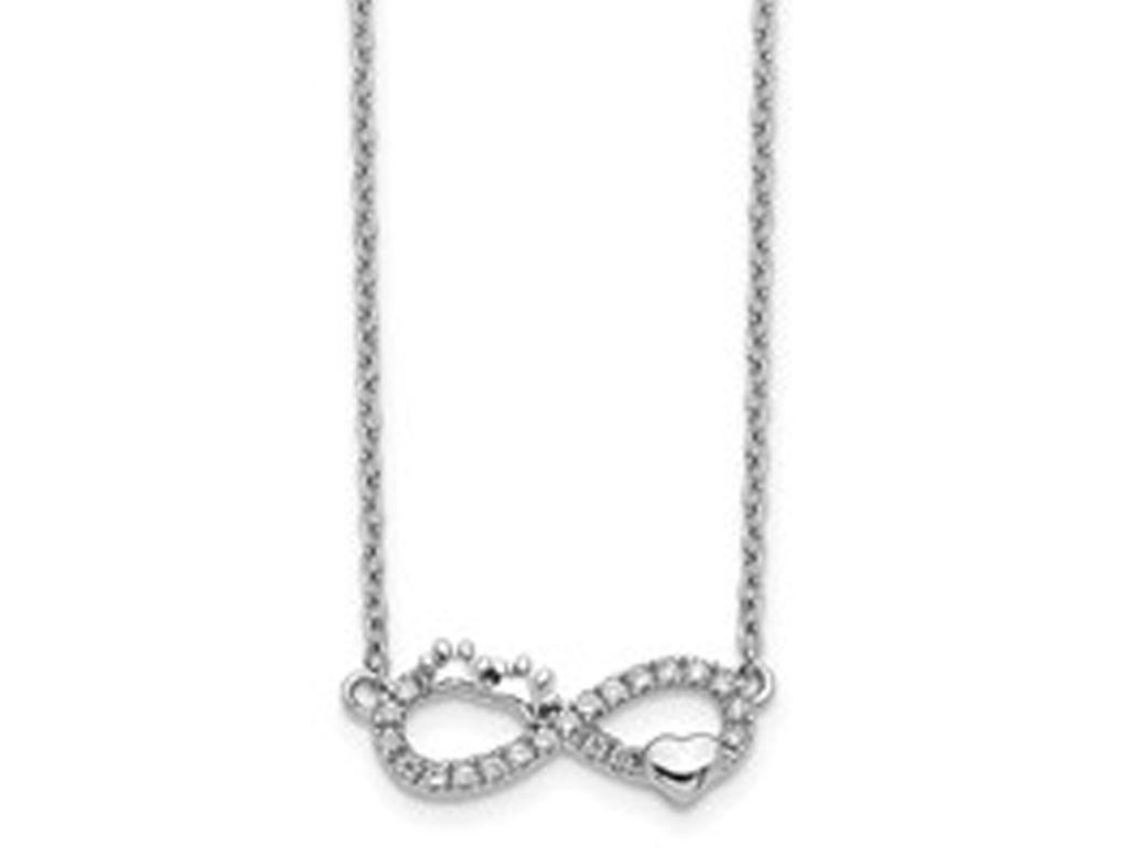 14K White Gold Diamond Heart Infinity Necklace 1/10 Carat (ctw)