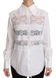 Costume National White Frill Lace Inset Poplin Tops Blouse Women's Shirt