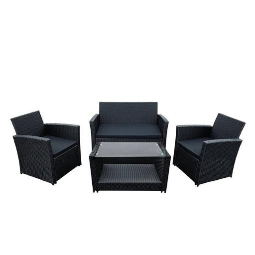 Aleko RTFS7506BL-UNB Lipari Rattan Wicker Furniture Indoor Outdoor Coffee Table, Black - 4 Piece