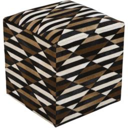 Surya Rug POUF-238 Taupe Pouf 18 x 18 x 18 in.