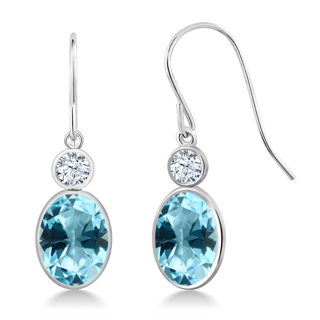 14K White Gold Earrings Created Sapphire Set with Ice Blue Topaz from Swarovski