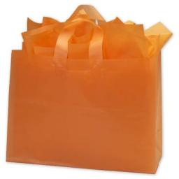 Bags & Bows by Deluxe 268-160612-35 Orange Frosted High Density Shoppers - Case of 250