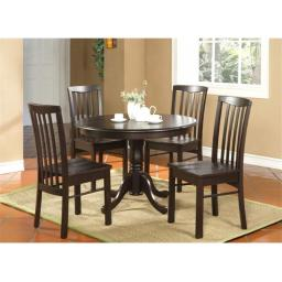 East West Furniture HART5-WAL-W 5 -Piece Hartland Table 42 in. Round Table and 4 Wood seat Chairs - Black Cappuccino Finish