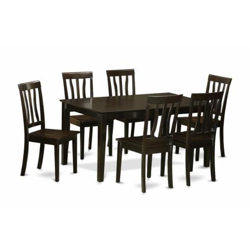 East West Furniture CAAN7-CAP-W 7 Piece Kitchen Table Set- Kitchen Table and 6 Dining Chairs