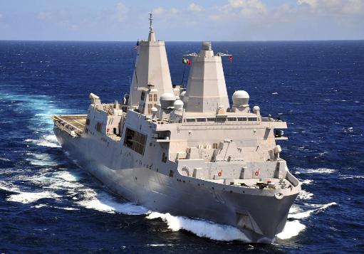 August 18, 2011 - The amphibious transport dock ship USS Green Bay transits the Indian Ocean. Poster Print
