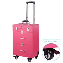 """AW Pink PVC 14x9x20"""" 4-Wheel Rolling Makeup Nail Case Nail Drill Cosmetic Artist Trolley with Keys & Drawers"""