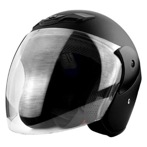 RS Helmets RS-8661-Small 3 by 4 Open Face Motorcycle Helmet with Face Shield Matte Black - Small UDHCELMXL1B68MP5