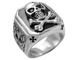 David Sigal Mens Skull Ring in Stainless Steel
