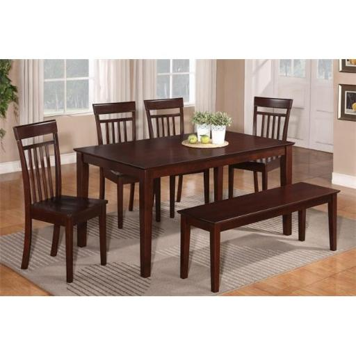 East West Furniture CAP7S-MAH-W 7 Piece Dining Table Set For 6- Dining Room Table and 6 Dining Chairs