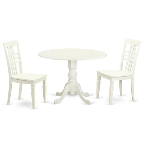Dining Room Table Set with One Dublin Dining Table & 2 Chairs, Linen White - 3 Piece