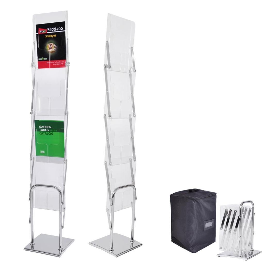 Yescom Portable Pop Up 4 Clear Pocket Magazine Brochure Literature Catelog Holder Rack Stand Tradeshow Display