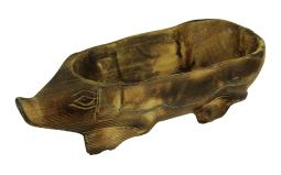 Hand Carved Darkened Wood Pig Centerpiece Bowl