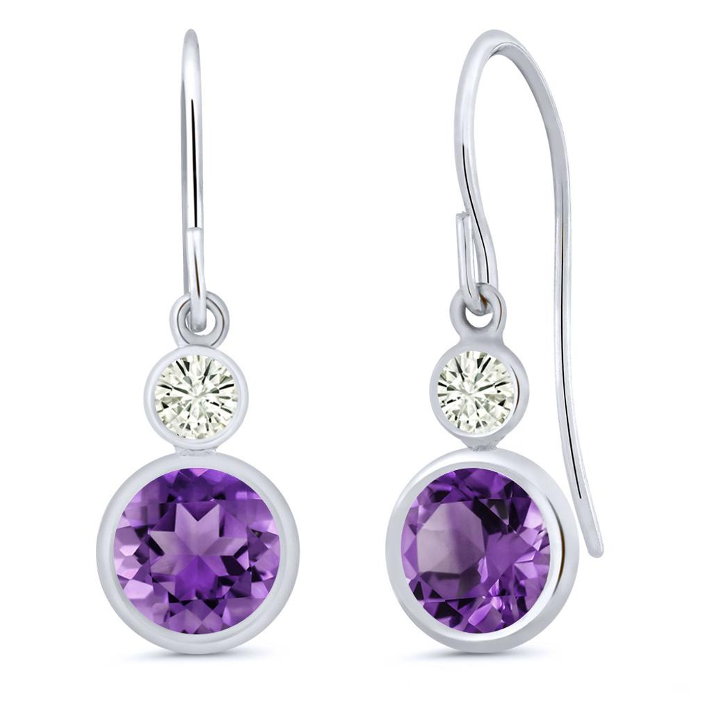 14K White Gold Dangle Earrings Round Purple Amethyst and Forever Classic Created Moissanite 0.20ct (DEW) by Charles & Colvard