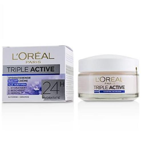 Loreal 225425 1.7 oz Triple Active Hydrating Night Cream 24H Hydration for All Skin Types