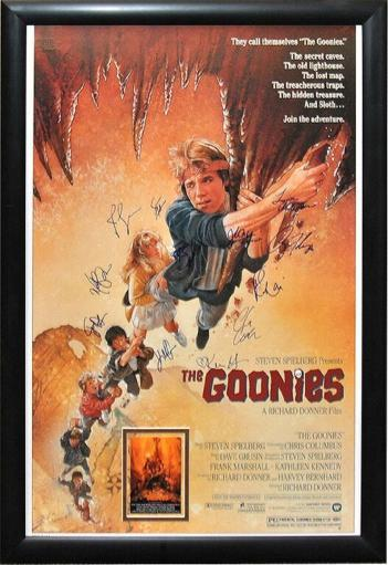 The Goonies - Signed Movie Poster in Wood Frame with COA