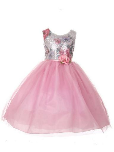 b2159a54fa82 Little Girls Pink Printed Sequin Multi Layer Tulle Flower Girl Dress 6