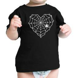 Heart Spider Web Baby Tshirt Black Funny Infant Tee For Halloween