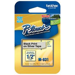 Brother international corporat m931 1/2inch black on silver non-laminated label maker tape for the brother pt55bm pt